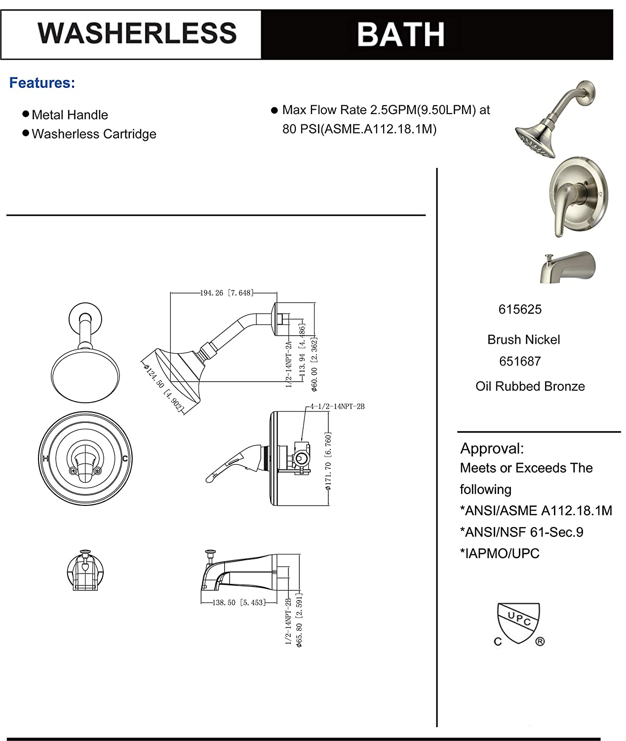 Designers Impressions 651687 Oil Rubbed Bronze Tub Shower Combo Peerless Industrial Mixer Wiring Diagram Faucet Single Handle Design Multi Setting Head