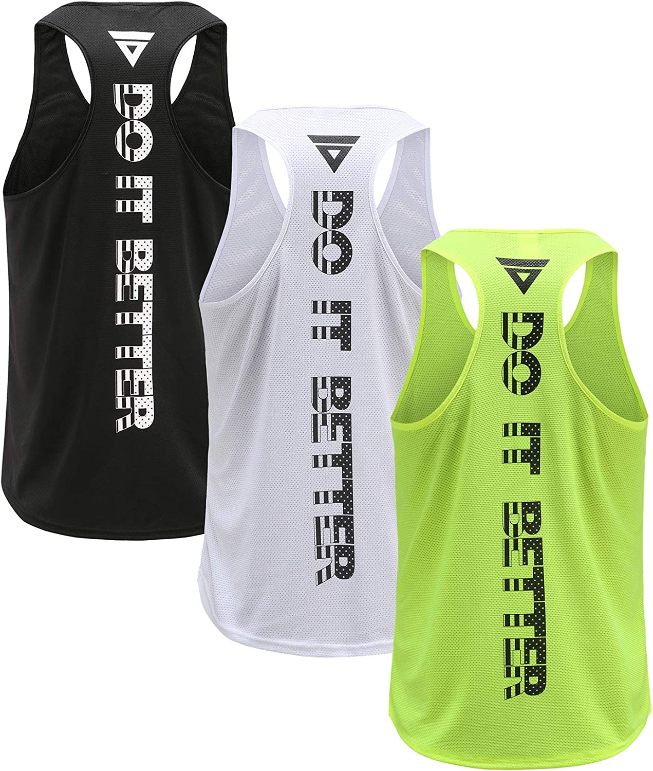 Men's 3 Pack Dry Fit Y-Back Gym Muscle Tank Mesh Sleeveless Top Fitness Training Cool Dry Athletic Workout