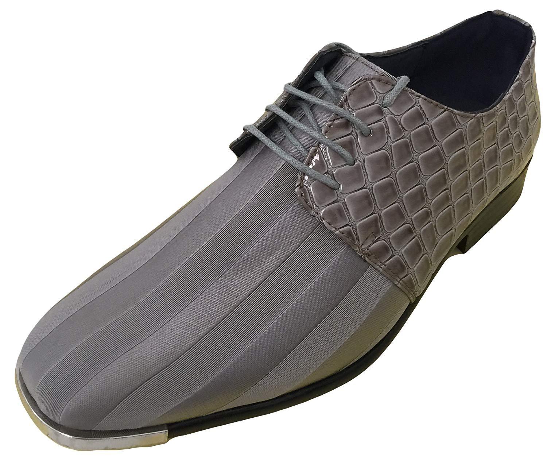 J2YE Men's Dress Oxfords Shoes Striped Satin Casual Tuxedo Silver Tip Wedding Party (12 D(M) US, Grey)