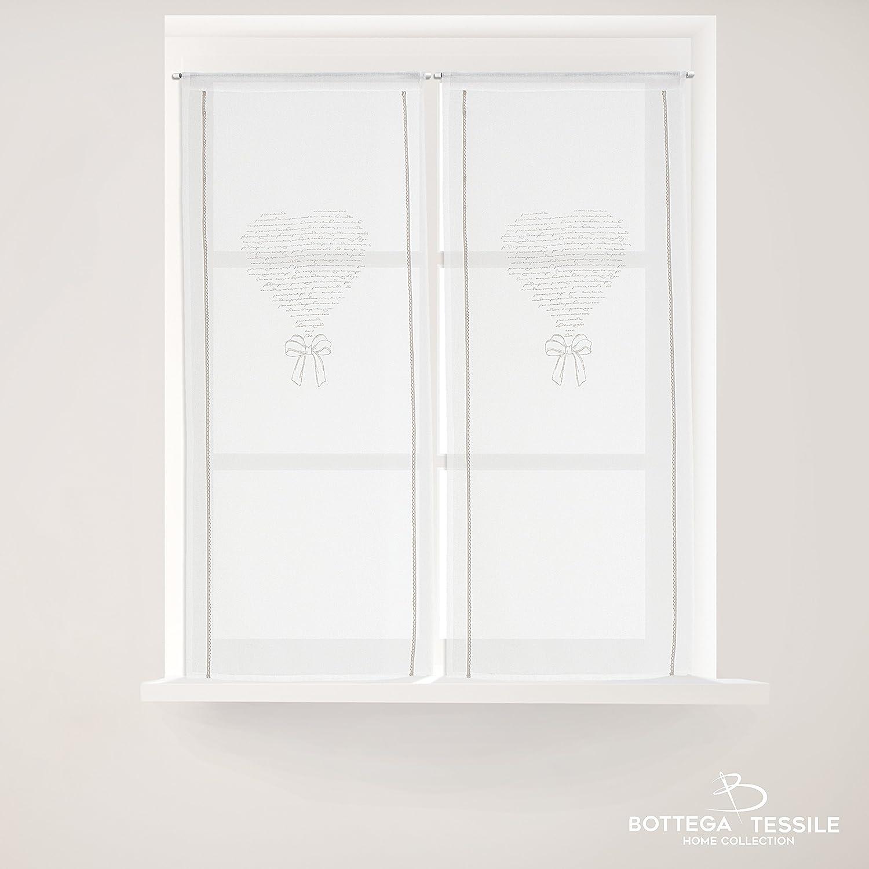 BOTTEGA TESSILE Coppia di Tendine Mod.PEGGY, Colore Grigio - Mis. 60 x 150 cm, Shabby Chic - Semi Coprente -Tessuto Bouclè