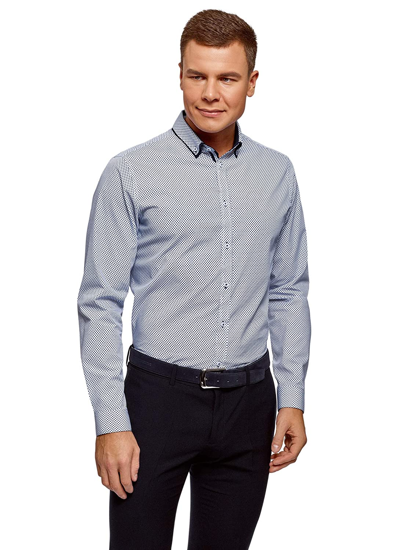 oodji Ultra Hombre Camisa de Algodón con Acabado en Contraste