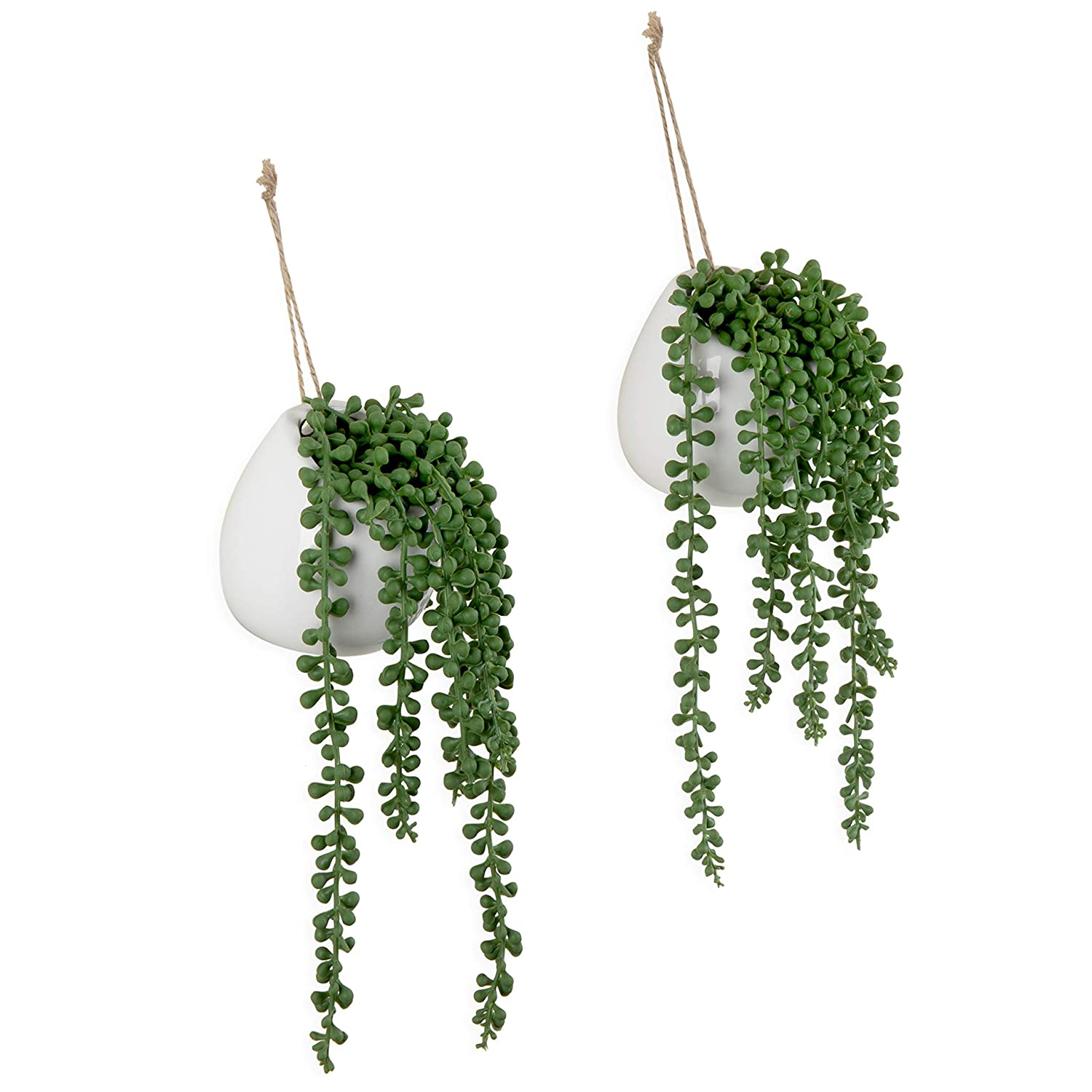 MyGift Artificial String of Pearls Plants in White Ceramic Wall-Hanging Planters Set of 2