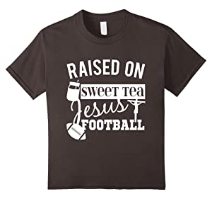 Kids Raised On Sweet Tea Jesus And Football Country Style T-Shirt 6 Asphalt