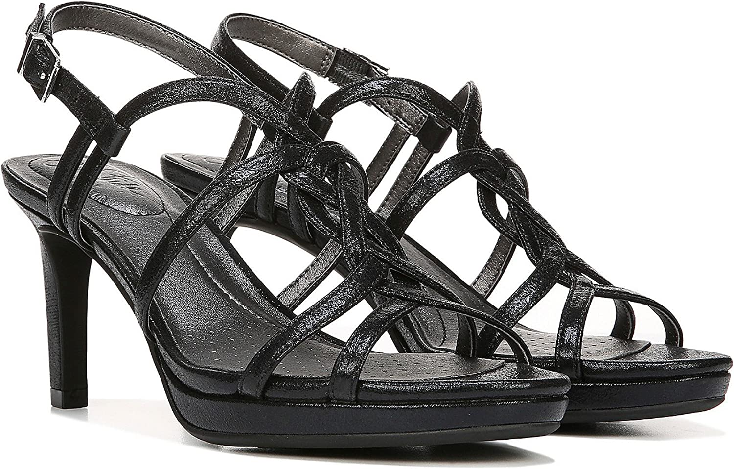 LifeStride Womens Introspect Black Sparkle Sandal