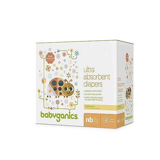 Babyganics Ultra Absorbent Diapers, NB, 96 Count