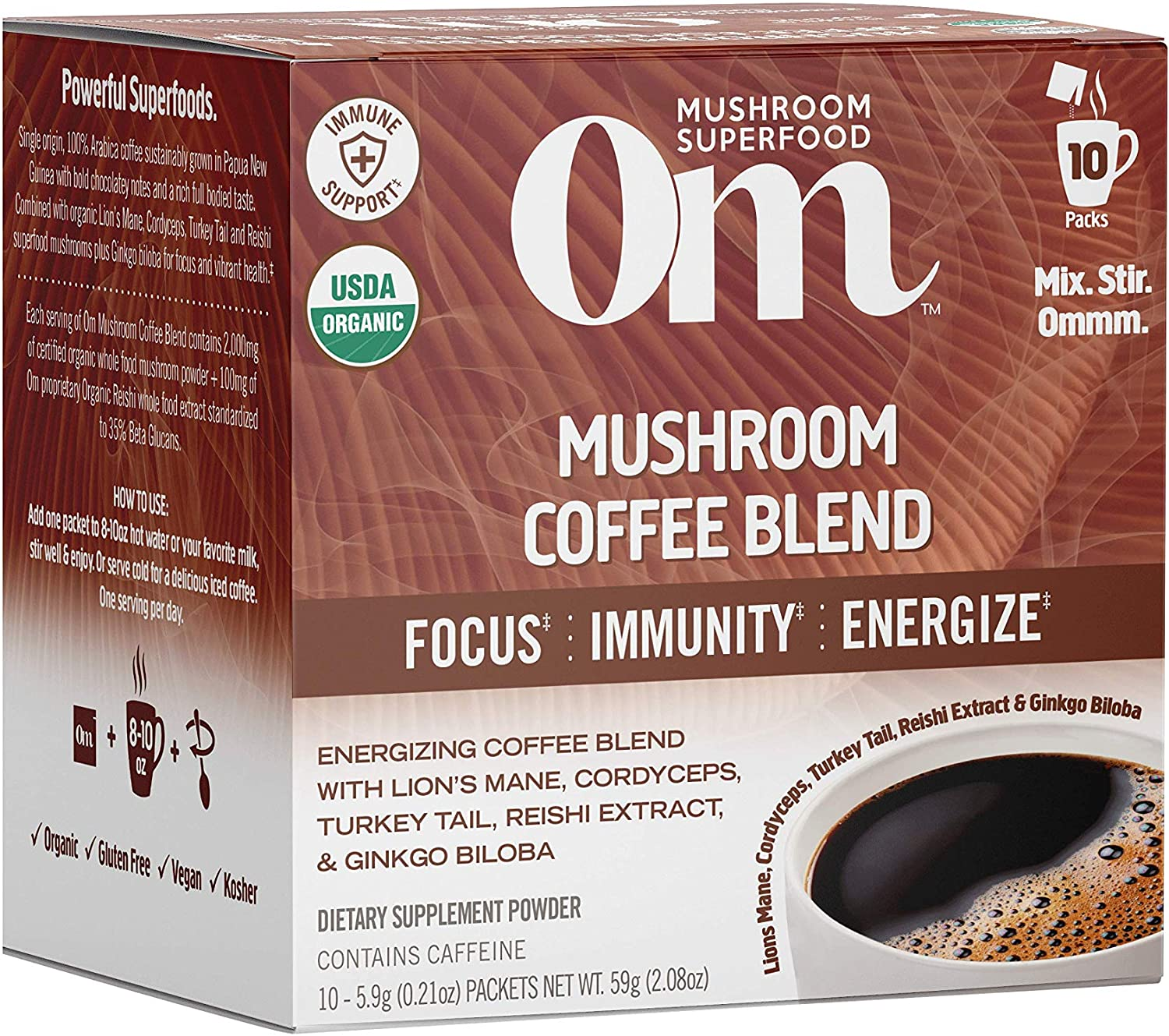 Om Mushroom Superfood Coffee, Lions Mane, Cordyceps, Turkey Tail, Reishi Extract, Ginkgo Biloba, Energy, Focus & Immune Support Supplement, 2.82 Ounce (Packets), 10 Count