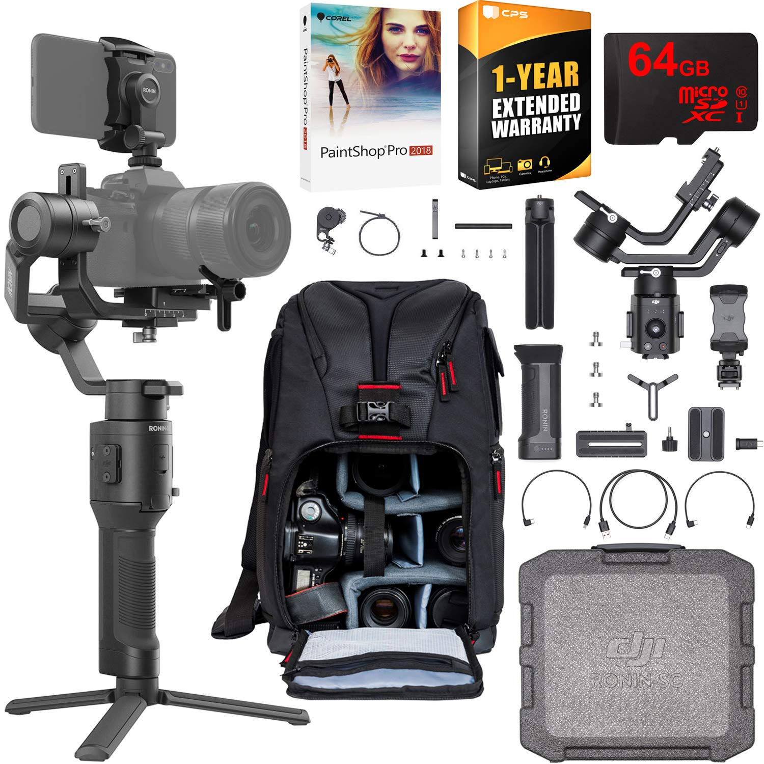 DJI Ronin-SC Pro Combo 3-Axis Gimbal Stabilizer for Mirrorless Cameras Pro Creative Bundle with Deco Photo Backpack + 64GB High Speed Card + Corel Paintshop Pro Software + 1 Year Warranty Extension by DJI