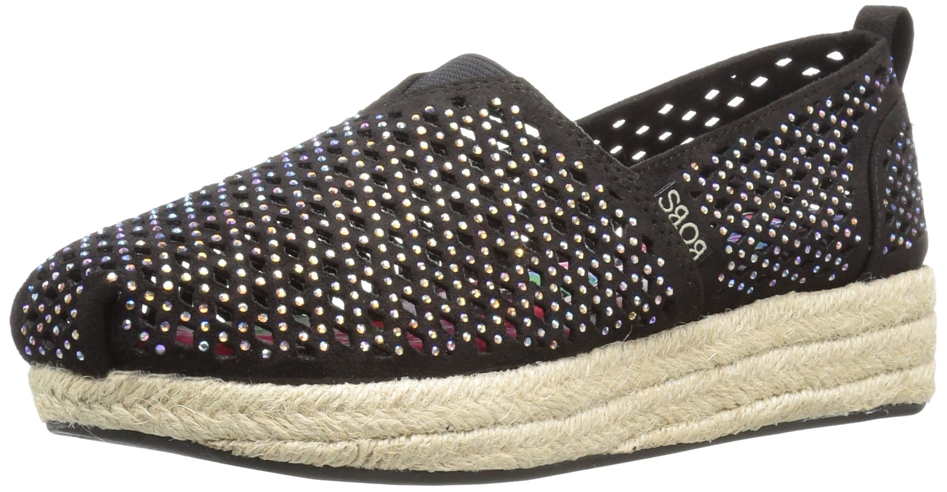 Skechers BOBS from Women's Highlights-Glamsquad Wedge, Black Gem, 9.5 M US