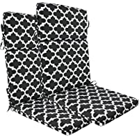 BOSSIMA Indoor Outdoor High Back Chair Cushions Replacement Patio Chair Seat Cushions Set of 2 (Black White Flower)