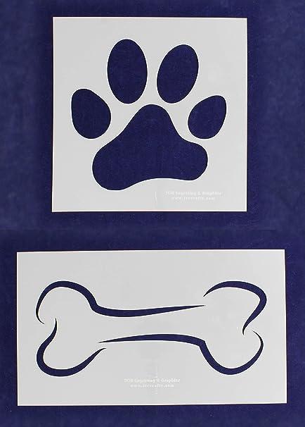 Amazon com: Dog Bone - Paw Print Stencils (Extra Large) 2 Piece set