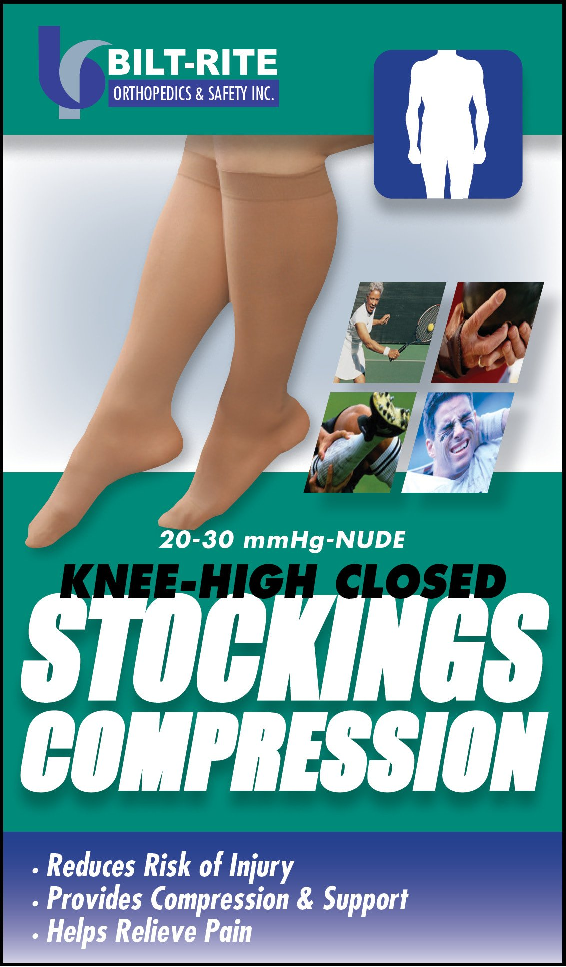 Bilt-Rite Mastex Health Knee High Stockings, Natural, 2X-Large