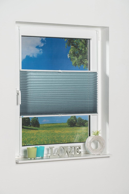 K-home Klemmfix-plissettata palma, luce protezione, sostanza, Petrol, Tessuto, nero, 40 x 130 cm China 424831-1