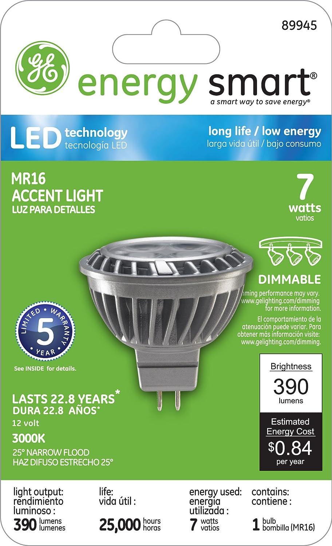 GE Lighting 89945 Energy-Smart LED 7-watt 390-Lumen MR16 Bulb with Medium Base, Warm White, 1-Pack - - Amazon.com