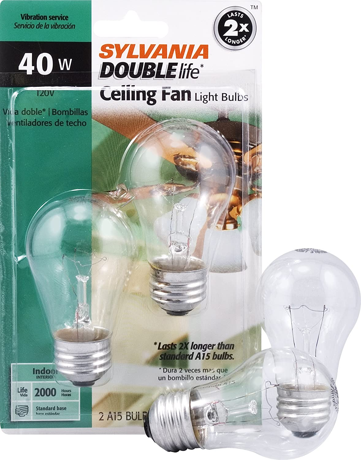 SYLVANIA Home Lighting 10034 Incandescnet Bulb, A15-40W, Double Life, Clear Finish, Medium Base, Pack of 2
