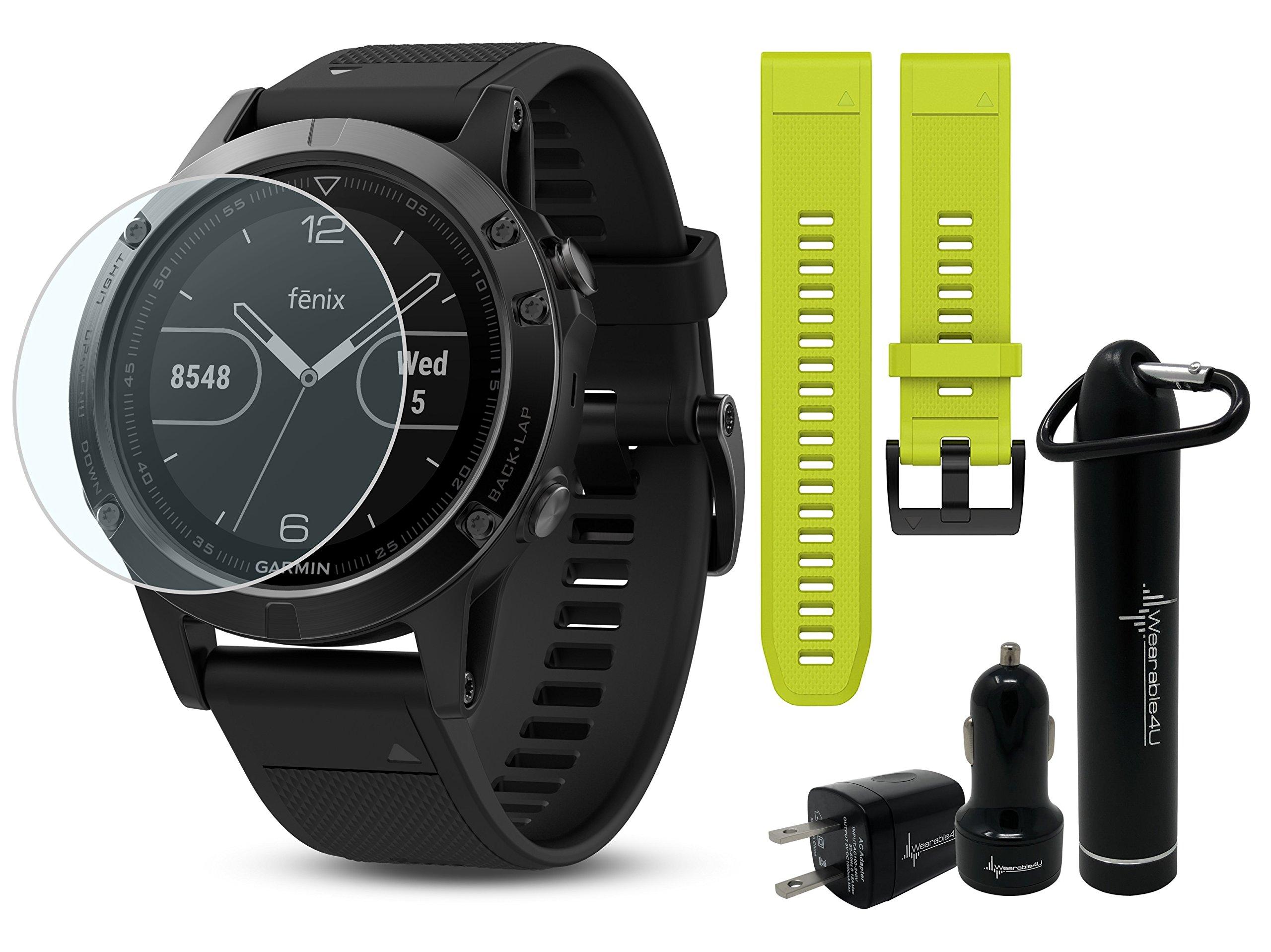 Garmin Fenix 5 GPS Multisport Watch Ultimate Bundle   Includes Garmin Fenix 5 Watch (47mm), HD Glass Screen Protector, Wearable4U Power Bank, Wearable4U Car / Wall USB Charging Adapters  