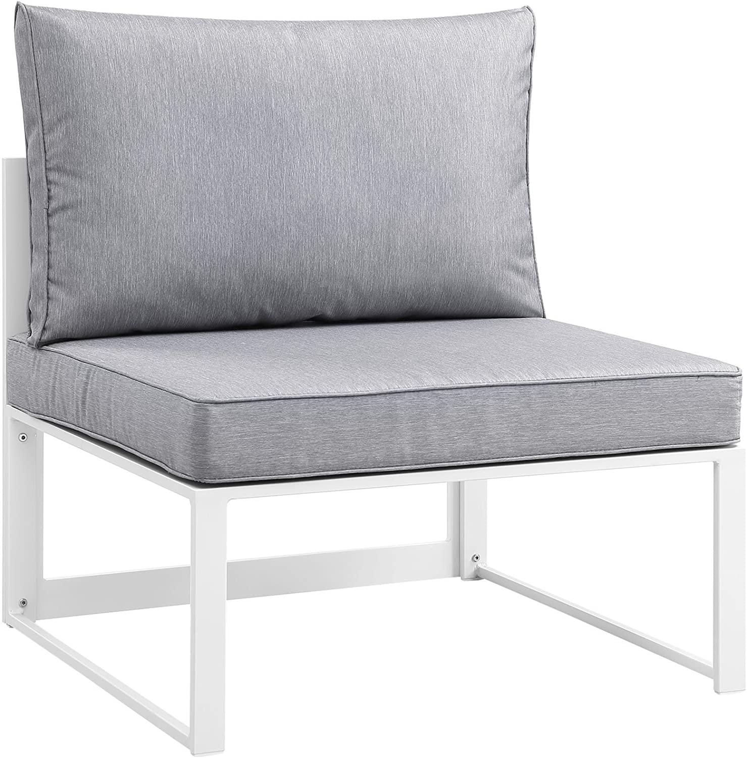 Modway Fortuna Aluminum Outdoor Patio Armless Chair in White Gray : Garden & Outdoor