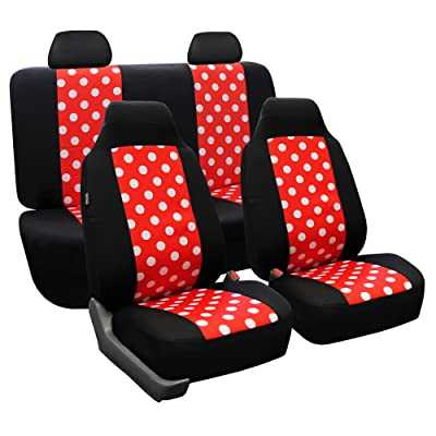 FH Group FB115REDBLACK114 Full Set Seat Cover (Stylish Polka Dot High Back Red & Black): Automotive