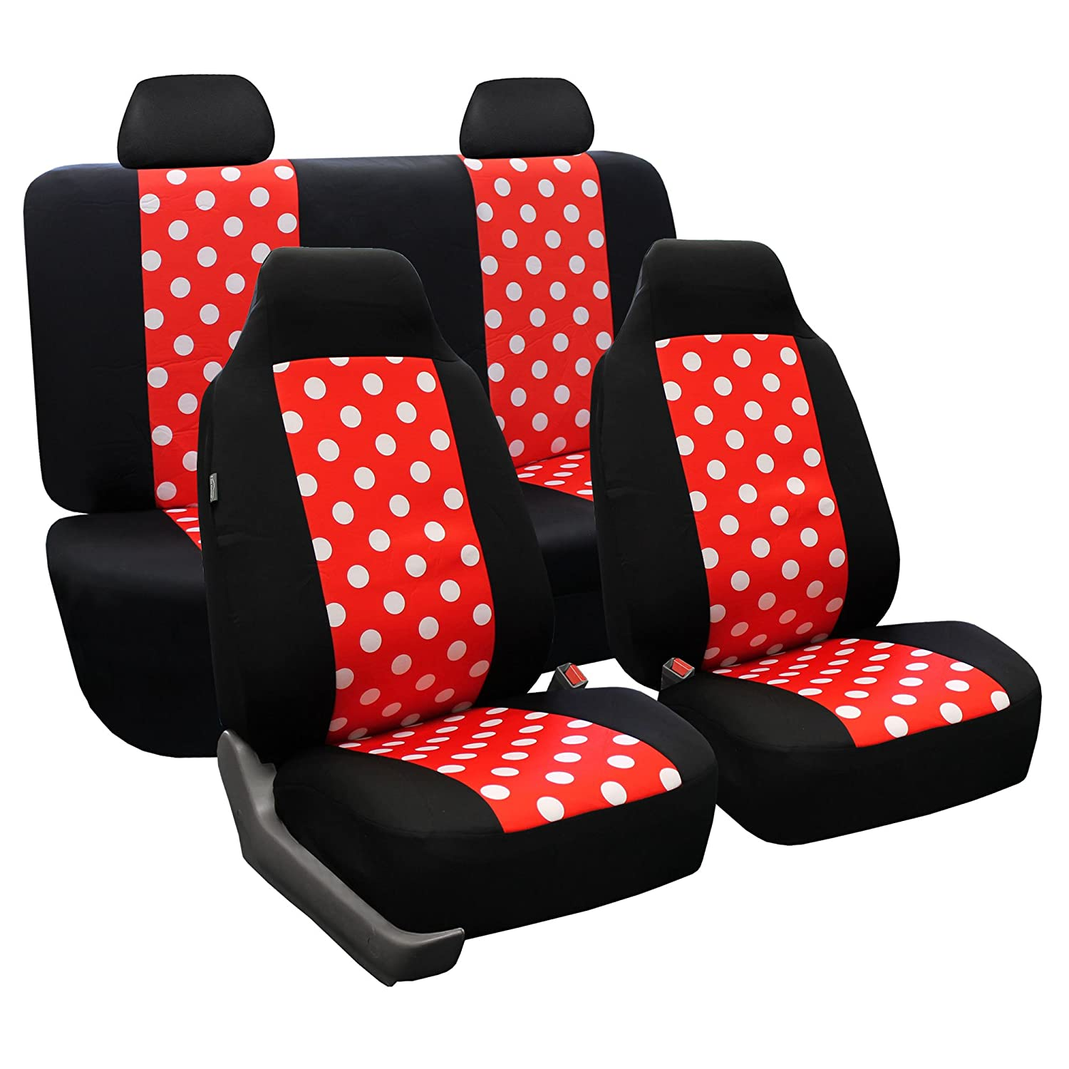 FH Group FH-FB032115 Unique Flat Cloth Seat Covers, Gray/Black Color- Fit Most Car, Truck, Suv, or Van