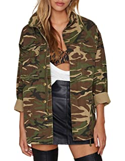 30b7f759 Amazon.com: HaoDuoYi Women Casual Military Camo Boyfriend Button ...