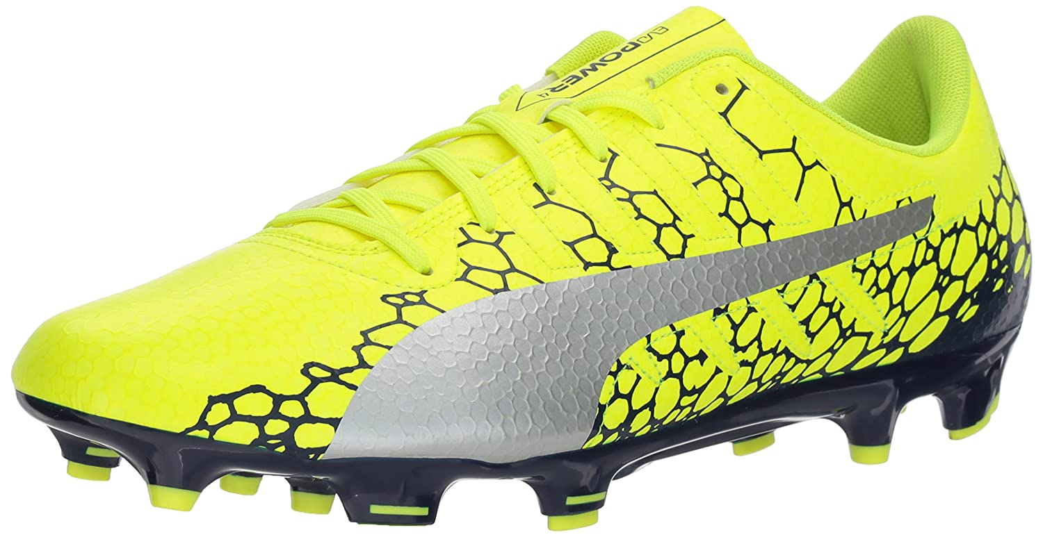 PUMA Men's Evopower Vigor 4 Graphic FG Soccer Shoe B01N0QRTRR 9 D(M) US|Safety Yellow-silver-blue Depths