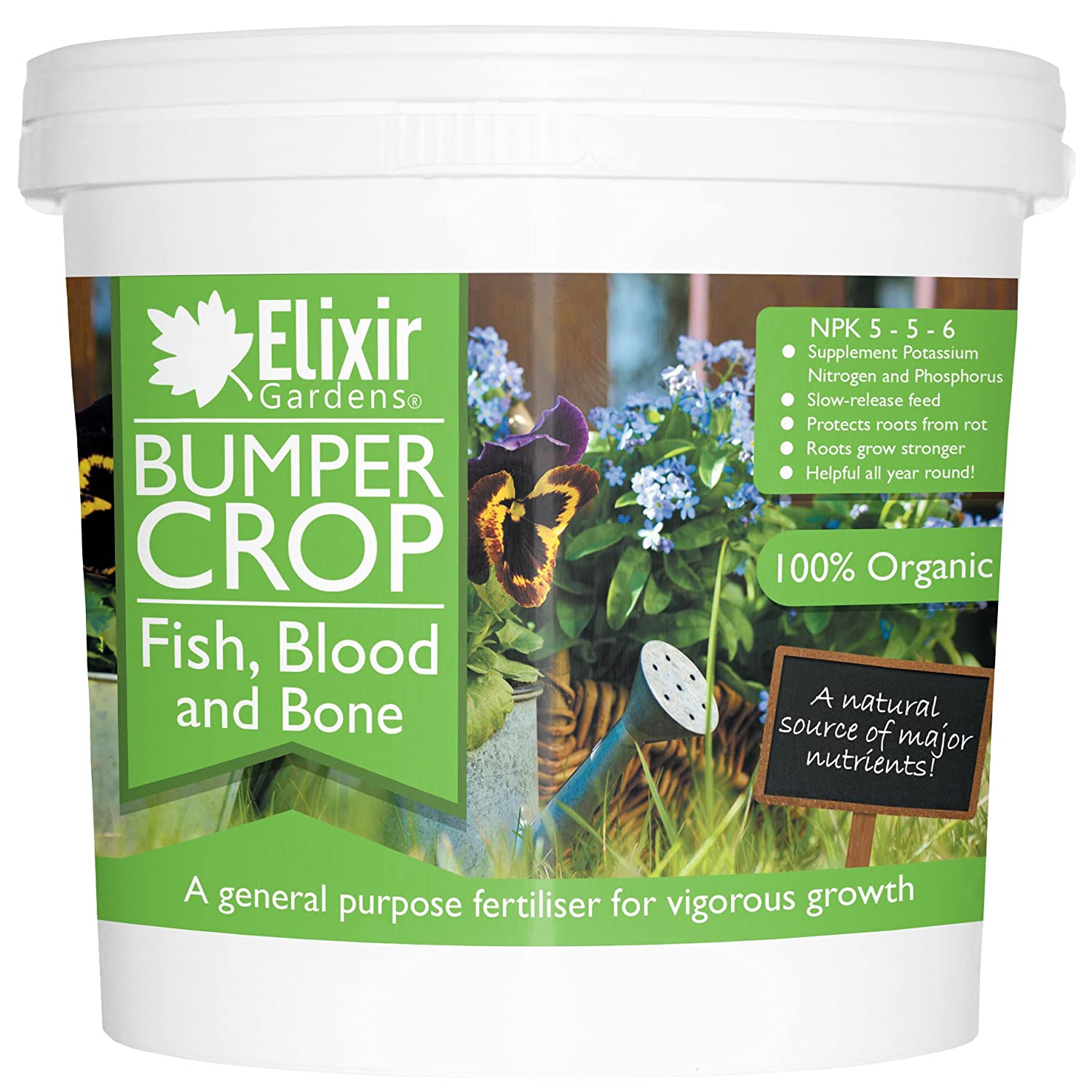Bumper Crop Blood Fish Bone Fertiliser | 1kg, Re-Sealable Tub by Elixir Gardens ®