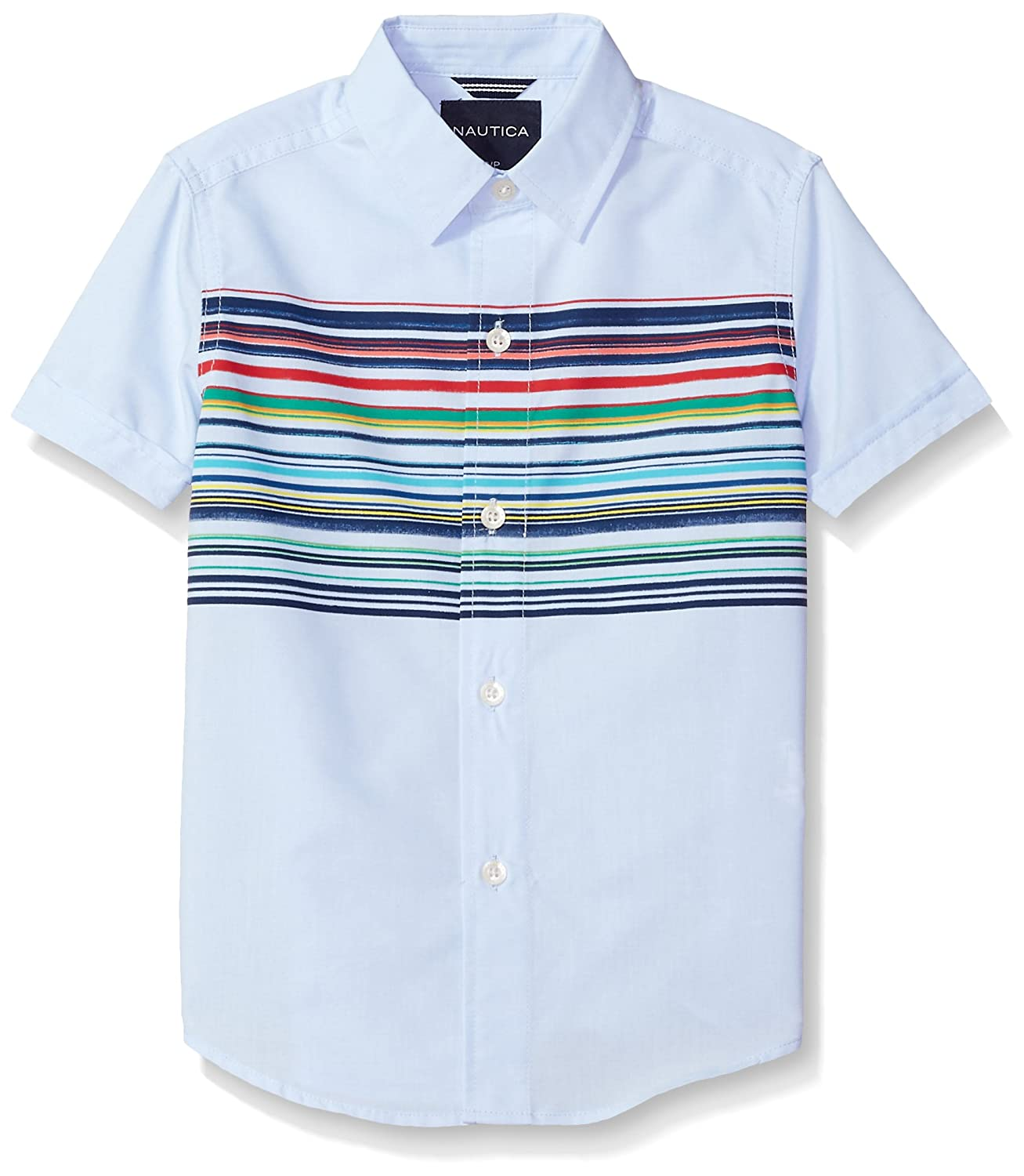 Nautica Boys Short Sleeve Printed Button Down Shirt
