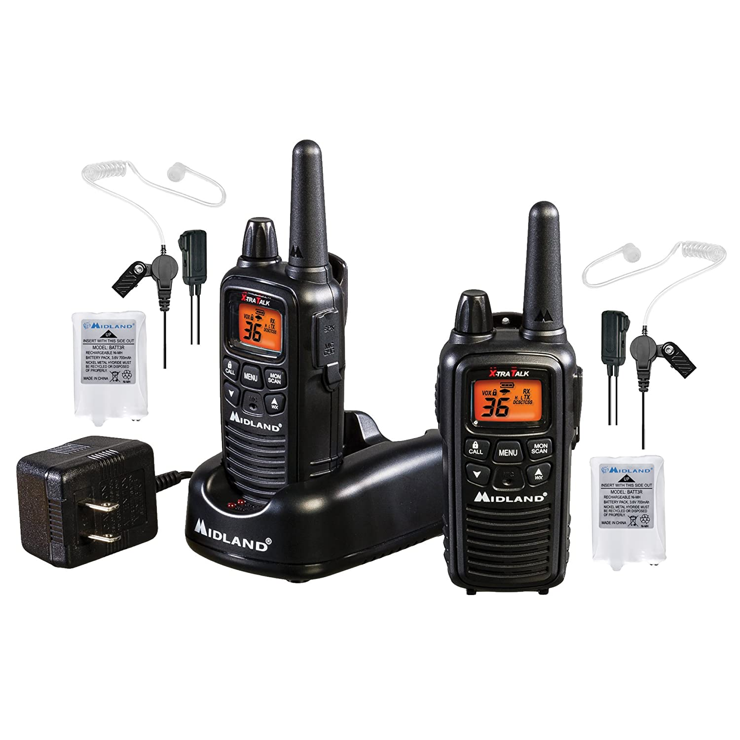 Black Pair Pack eVox for Hands-Free Operation Business Radio Bundle Concealed Headsets LXT600 36 Channel FRS Two-Way Radio Alert NOAA Weather Scan Midland