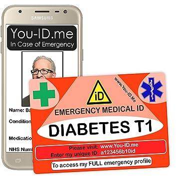 Tarjeta de alerta médica tipo 1 para diabetes, tarjeta de ...