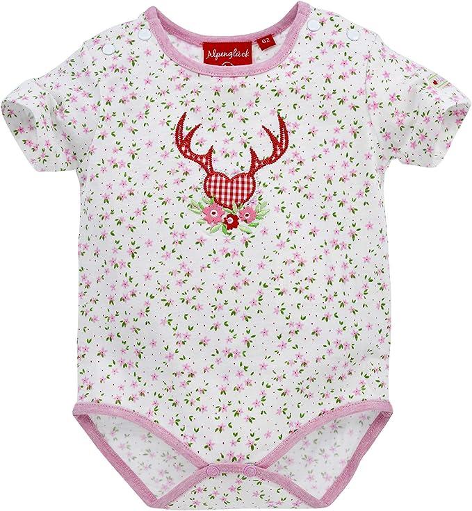 Bondi Kidswear Baby Strampler ´Herz Alpenglück´ rot für Mädchen