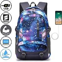 E-ZONED Zaino Scuola Superiore Per PC 15.6 Pollici da Donna e Uomo, Backpack Portabile Casual Rucksack per Laptop Universita Viaggio con Presa Ricarica USB (Galassia)