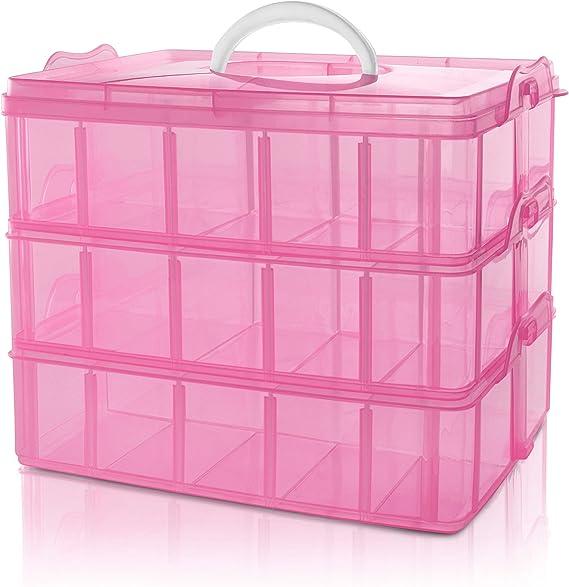 BELLE VOUS Caja Almacenamiento Plastico Rosado 3 Niveles - Ranuras ...