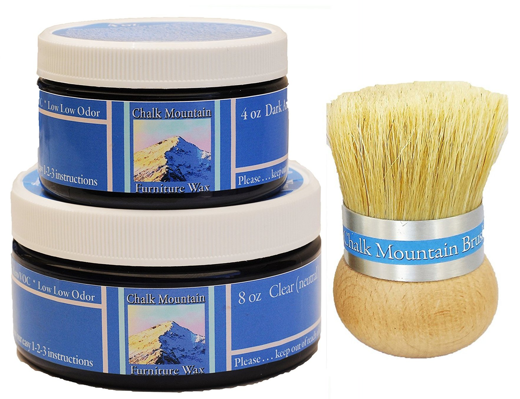 GIFT BOX INCLUDED!!! Chalk Mountain Brushes 3pack Natural Furniture Finishing wax kit - (8oz Clear & 4oz Dark Antiquing, Palm Brush)
