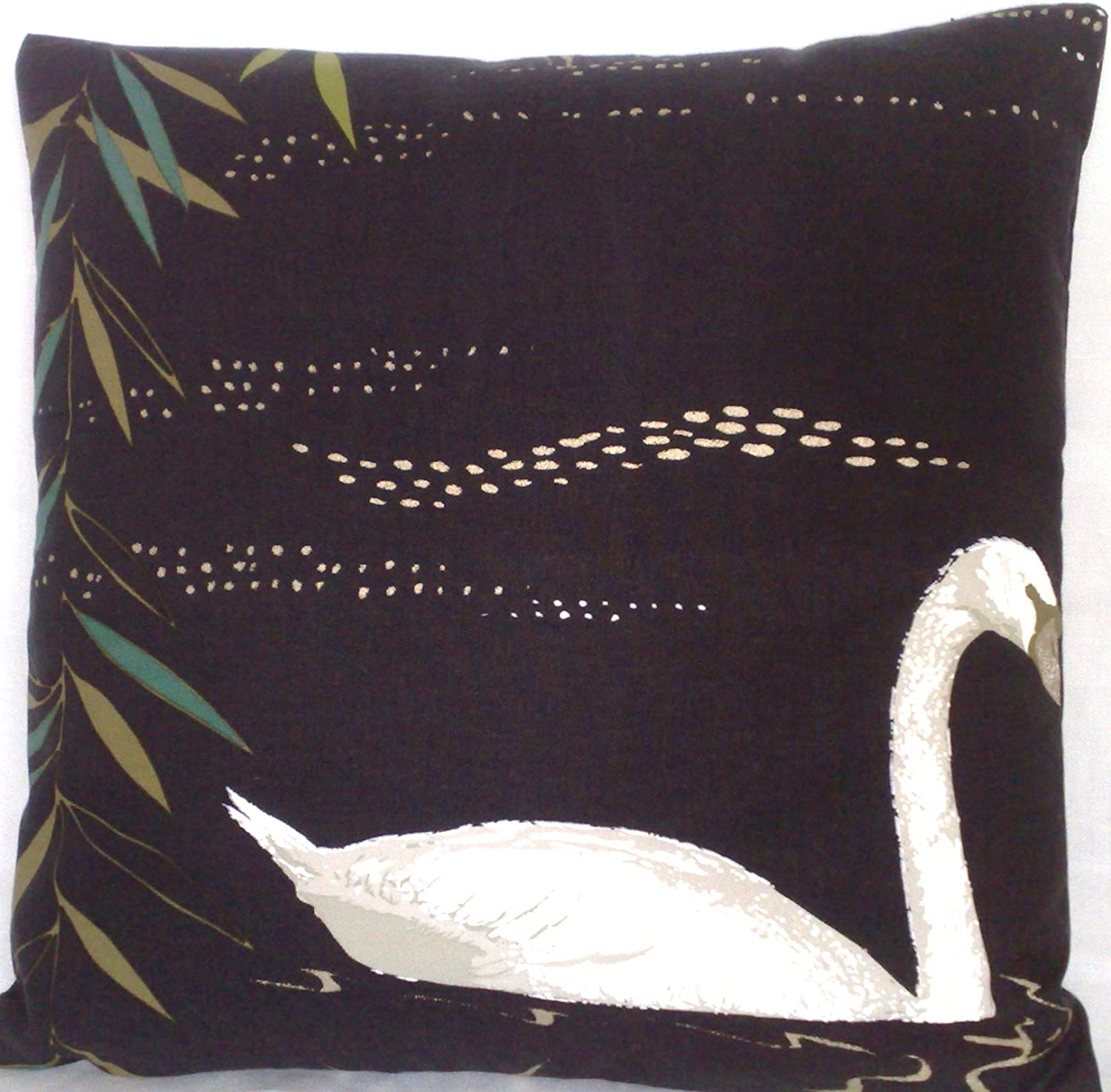 Nina Campbell Swan Lake Accent Pillow Case Black Bird Pattern Cushion Cover Cotton Fabric