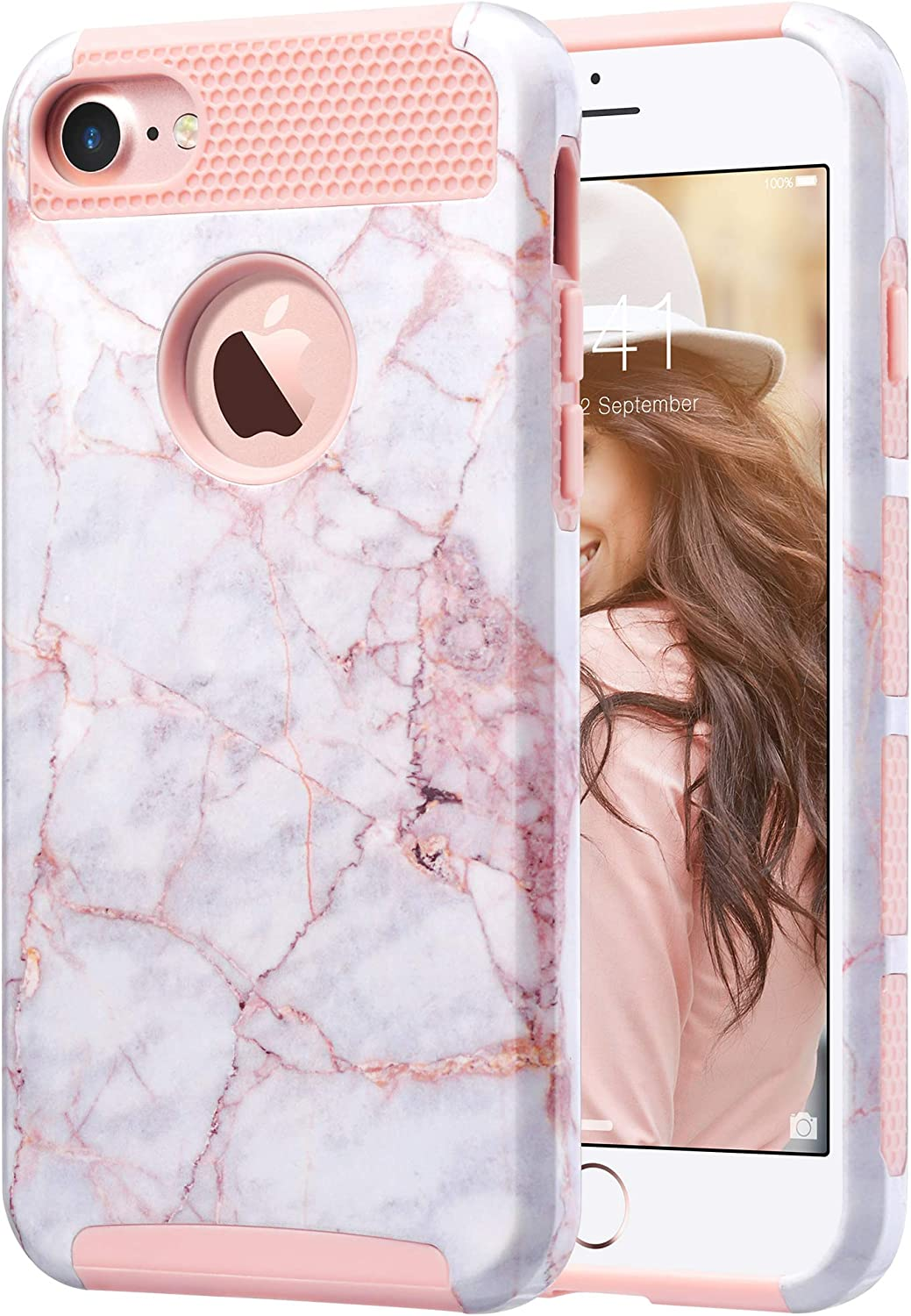 ULAK iPhone 7 Case Marble, Stylish Designed Slim Fit Hybrid Protective Hard Back Cover Shock Absorption TPU Bumper Girly Phone Case for Apple iPhone 7 4.7 inch, Cracked Marble