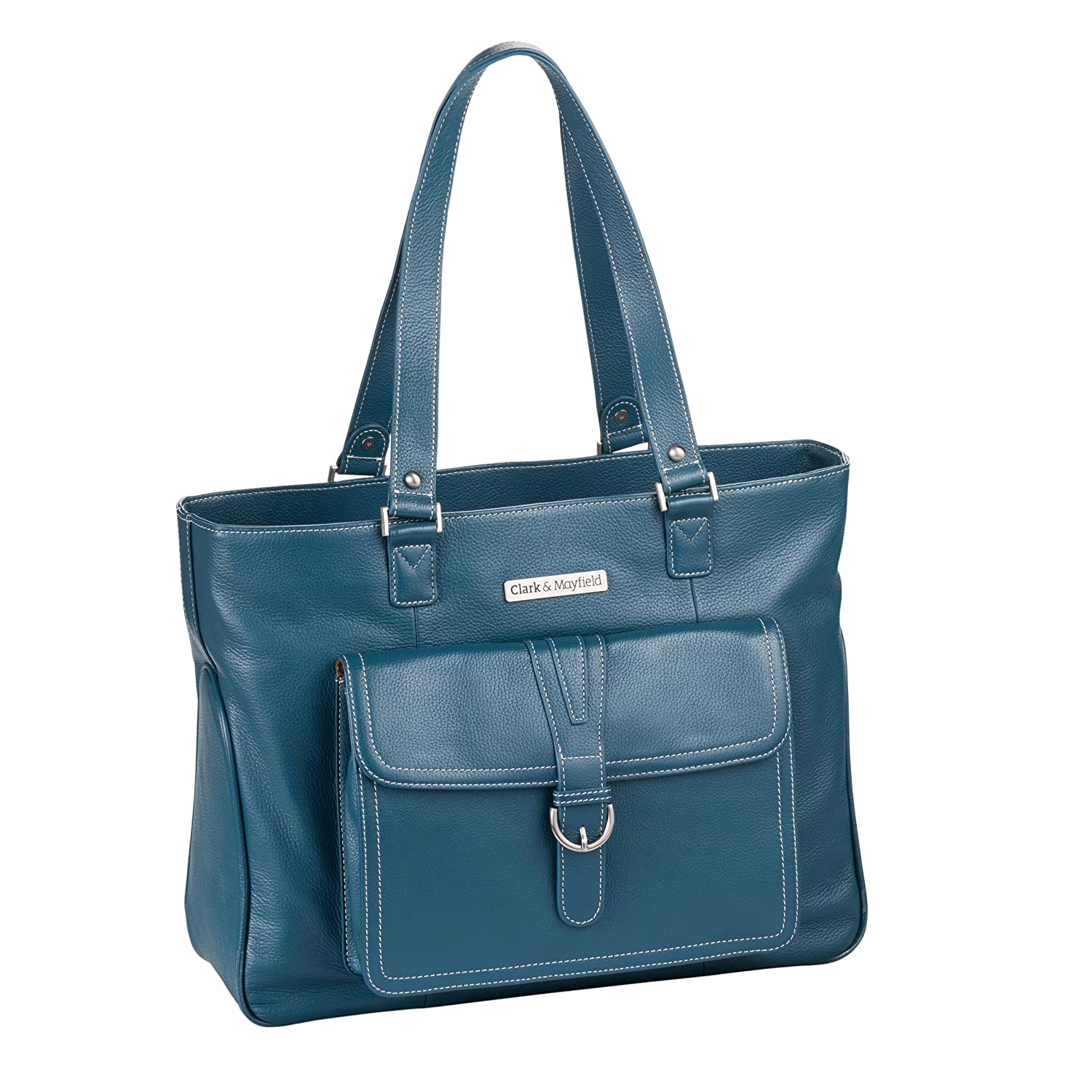 "Clark & Mayfield Stafford Pro Leather Laptop Tote 17.3"" (Deep Teal) new"