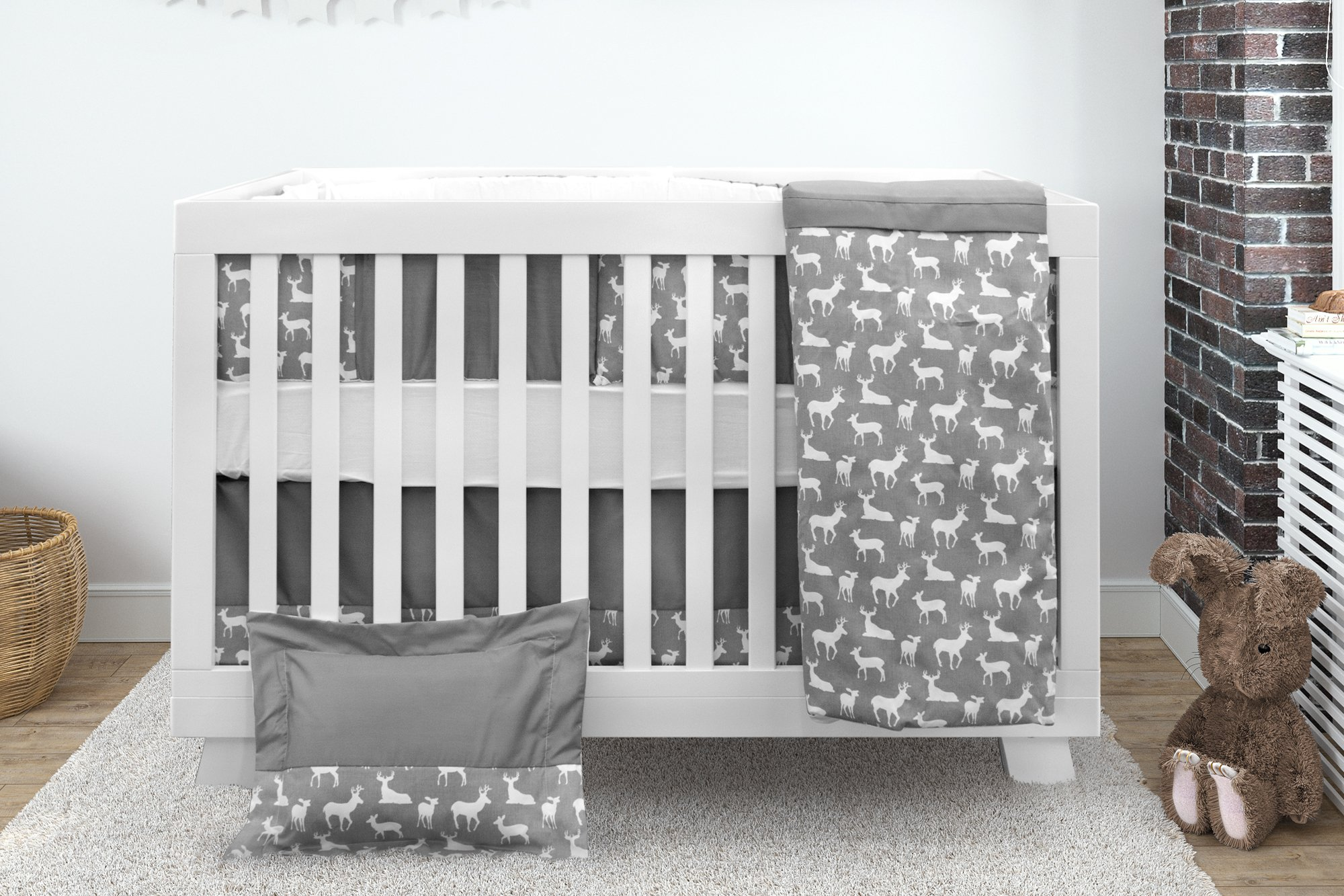 Bebelelo Baby Crib Bedding 7 Piece Set, Gray Deer Design, Includes Fitted Sheet, Crib Comforter, Comforter Cover, Skirt, Bumper, Pillow Cover and Pillow, Perfect for Baby Girls and Boys