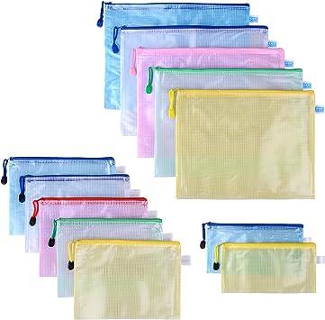 Dokumententasche A4,Reißverschlusstasche 10 Pack Zip Beutel Wasserdicht Mesh...