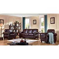 SC Furniture Ltd Burgundy Leather 3 Seater Sofa + 2 Armchairs Sofa Suite HIGHBURY 311