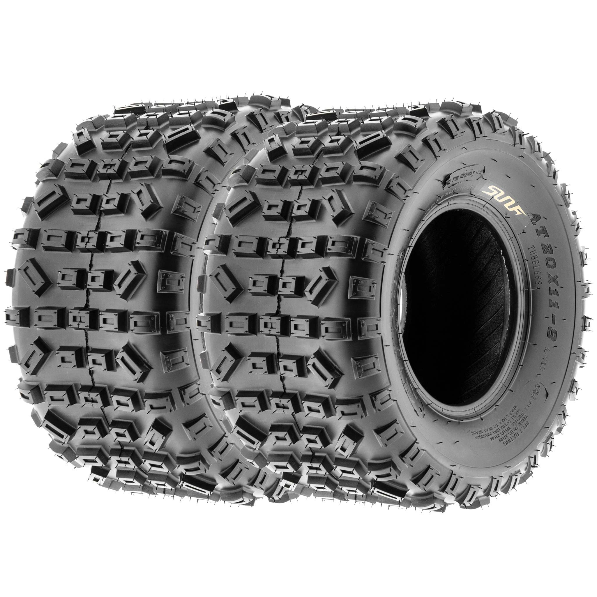 SunF 20x11-9 20x11x9 ATV UTV All Terrain Trail Replacement 6 PR Tubeless Tires A035, [Set of 2]
