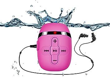 Sigomatech 8GB de natación reproductor de mp3 con auriculares de cable corto (3 tipo swimbuds