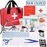 First Aid Survival Kit, Monoki New 174 Pcs Emergency Survival Kit Medical Supplies Trauma Bag Safety First Aid Kits for Home, Office, School, Car, Boat, Travel, Camping, Hiking, Sports, Adventures