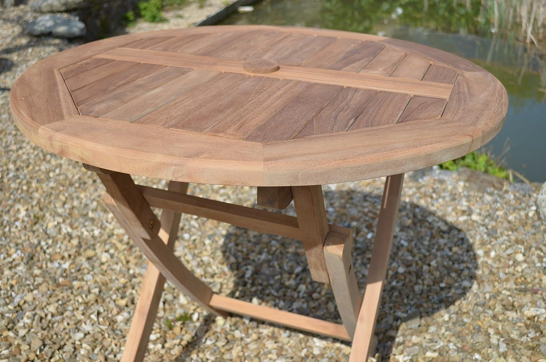 Patio Essentials Mortimer 2-4 Seater Solid Teak 80cm // 2.6ft Round Folding Garden Table