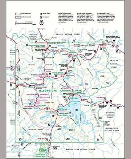 Gifts Delight Laminated 19x23 Poster: Map Yellowstone National Park
