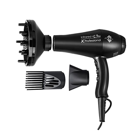 Jinri Professional Salon 1875w Far Infrared Negative Ion 2 Speeds 3 Heat Ionic Hair Dryer with Diffuser and Concentrator,Powerful,Travel,Lightweight hair dryer blow dryer,Black Color