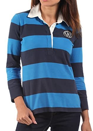 db60b84557d9e2 Abercrombie & Fitch Womens Rugby Shirt Navy Blue Striped: Amazon.co ...