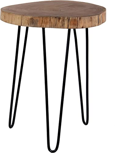 Decoriny Kennesaw Acacia Wood Live Edge Stool with Hairpin Legs, Natural Edge End Table,Wood Accent Side Table, Nightstand, Plant Stand 21.5 Tall, Brown