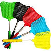 Lecoku 5 Pack Telescopic Fly Swatter Manual Heavy Duty Plastic Flyswatter with Extendable Stainless Steel Pole 5 Colors