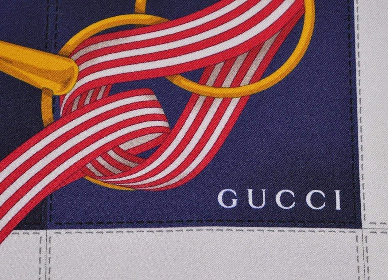 Gucci Women's 352213 Silk Cream Blue Interlocking GG Twill Neck Scarf by Gucci (Image #4)