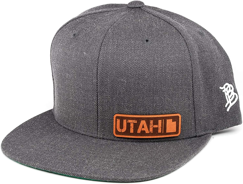 Branded Bills /'Utah Native Leather Patch Snapback Hat OSFA//Charcoal