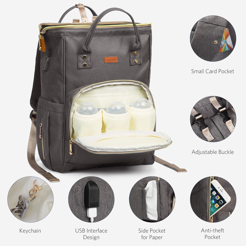 polyvalent imperm/éable grande capacit/é port de charge USB sac fourre-tout avec 3 poches /à bouteille isotherme Noir sac /à langer HOMIEE Sac /à dos